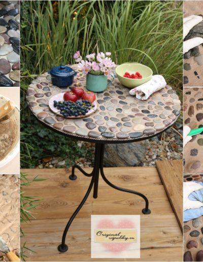 Kamínkový stůl ze starého věšáku