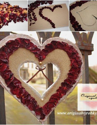 Srdce z krabice a plátků růží